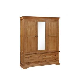 Delta triple wardrobe with drawers and mirror