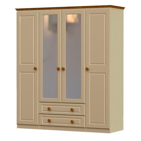 annagh-ivory-4 door wardrobe, 2 drawers and 2 mirrors