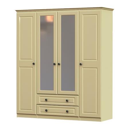 liffey 4 door, 2 drawer and 2 mirror wardrobe
