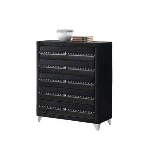 jasmine black 5 drawer chest